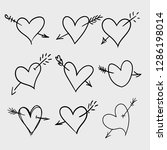 set of hand drawn doodle hearts ... | Shutterstock .eps vector #1286198014