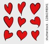 vector set of red doodle hand...   Shutterstock .eps vector #1286198041