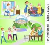 set of old women and men... | Shutterstock .eps vector #1286211277