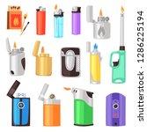 lighter vector cigarette... | Shutterstock .eps vector #1286225194