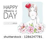 happy women's day greeting card ... | Shutterstock .eps vector #1286247781