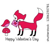 valentines day fox with cute... | Shutterstock .eps vector #1286250781