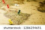 green pushpin marking a...   Shutterstock . vector #1286254651