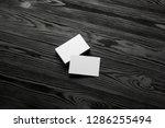 business card blank on wooden... | Shutterstock . vector #1286255494