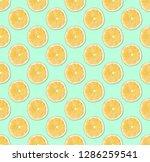fresh yellow lemon slices... | Shutterstock . vector #1286259541