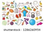 colored cartoon fitness doodles ... | Shutterstock .eps vector #1286260954