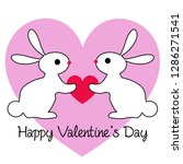 valentines day rabbits with... | Shutterstock .eps vector #1286271541