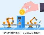 hand hold golden coin abive...   Shutterstock .eps vector #1286275804