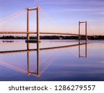 WA, Pasco-Kennewick, Intercity Cable-Stayed Bridge over Columbia River at sunrise