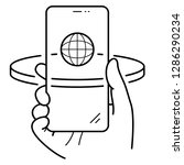 right hand holding smartphone....   Shutterstock .eps vector #1286290234