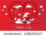 art paper heart balloons fly on ... | Shutterstock .eps vector #1286295127