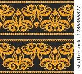 watercolor golden baroque... | Shutterstock . vector #1286366827