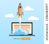 rocket ship launch  project... | Shutterstock .eps vector #1286382097