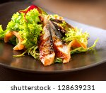 salad with smoked eel. japanese ... | Shutterstock . vector #128639231