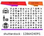 trip icon set. 120 filled trip ... | Shutterstock .eps vector #1286424091