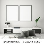 mock up poster frame in modern... | Shutterstock . vector #1286454157