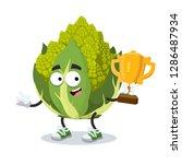 cartoon green roman broccoli...   Shutterstock .eps vector #1286487934