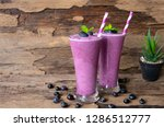 blueberry smoothies purple... | Shutterstock . vector #1286512777