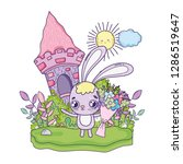 cute rabbit with flowers... | Shutterstock .eps vector #1286519647