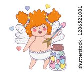 cute cupid chubby girl with... | Shutterstock .eps vector #1286521081