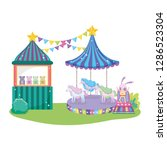cute circus rabbit with layer... | Shutterstock .eps vector #1286523304
