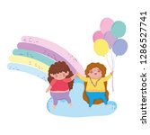 little chubby girls with rainbow | Shutterstock .eps vector #1286527741