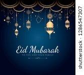 eid mubarak card with lanterns...   Shutterstock .eps vector #1286547307