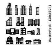 building black and white set | Shutterstock .eps vector #128659241