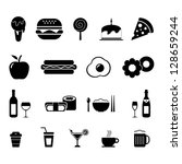 foods and drinks icon set black ... | Shutterstock .eps vector #128659244