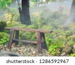 green nature garden and wooden...   Shutterstock . vector #1286592967