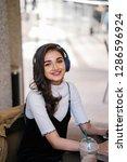 a beautiful indian asian woman...   Shutterstock . vector #1286596924