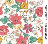 sketch flower seamless pattern... | Shutterstock . vector #128660357