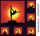 set of yoga silhouette at... | Shutterstock .eps vector #128663225