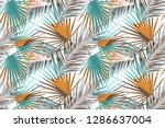 background with palm leaf in... | Shutterstock . vector #1286637004