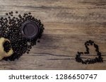 Flat Lay Heart Coffee Beans On...