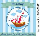 baby shower  cute ship   Shutterstock .eps vector #128665247