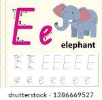 letter e tracing alphabet...   Shutterstock .eps vector #1286669527