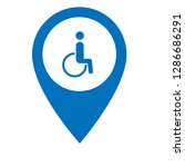 disabled icon and map pin. logo ... | Shutterstock .eps vector #1286686291