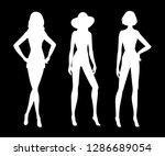 set of white female silhouettes ... | Shutterstock .eps vector #1286689054