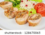 chicken rolls with champignons... | Shutterstock . vector #128670065