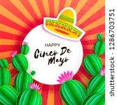 sombrero hat  cactus in paper... | Shutterstock . vector #1286703751