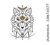 moonchild. beautiful totem wolf ... | Shutterstock .eps vector #1286710177