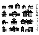 house black and white set | Shutterstock .eps vector #128673371