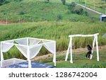 white fabric curtain closeup...   Shutterstock . vector #1286742004