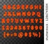 lighting bulb font  alphabet in ... | Shutterstock .eps vector #1286745004