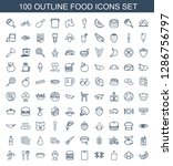 100 food icons. trendy food... | Shutterstock .eps vector #1286756797