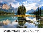 Spirit Island Alberta Canada - stock photo