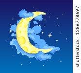 fun cartoon yellow crescent... | Shutterstock .eps vector #1286778697