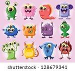 cartoon cute monsters   Shutterstock .eps vector #128679341