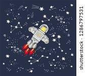 space rocket flying in space... | Shutterstock .eps vector #1286797531